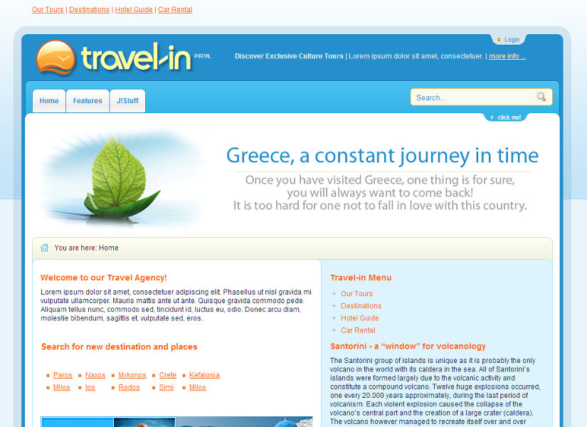 Travel In Joomla Template